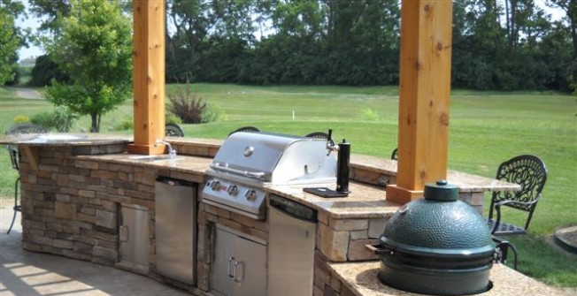 Stone Outdoor Kitchen in Aston juxta Mondrum